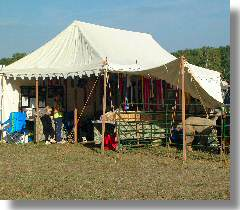 Outside view of the Thistledown Alpacas / Wool Merchant tent ... & Thistledown News